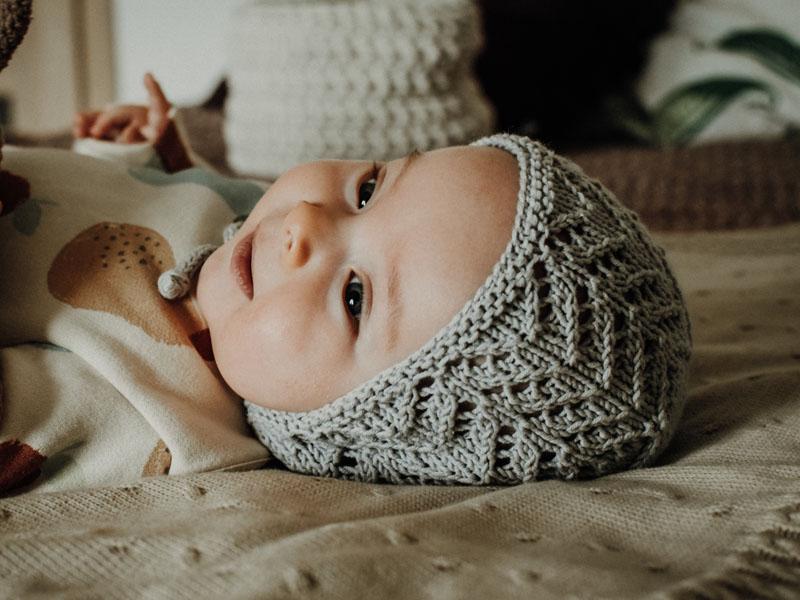 Ażurowa bonetka - bawełniana czapeczka - retro ubranka - ALOM